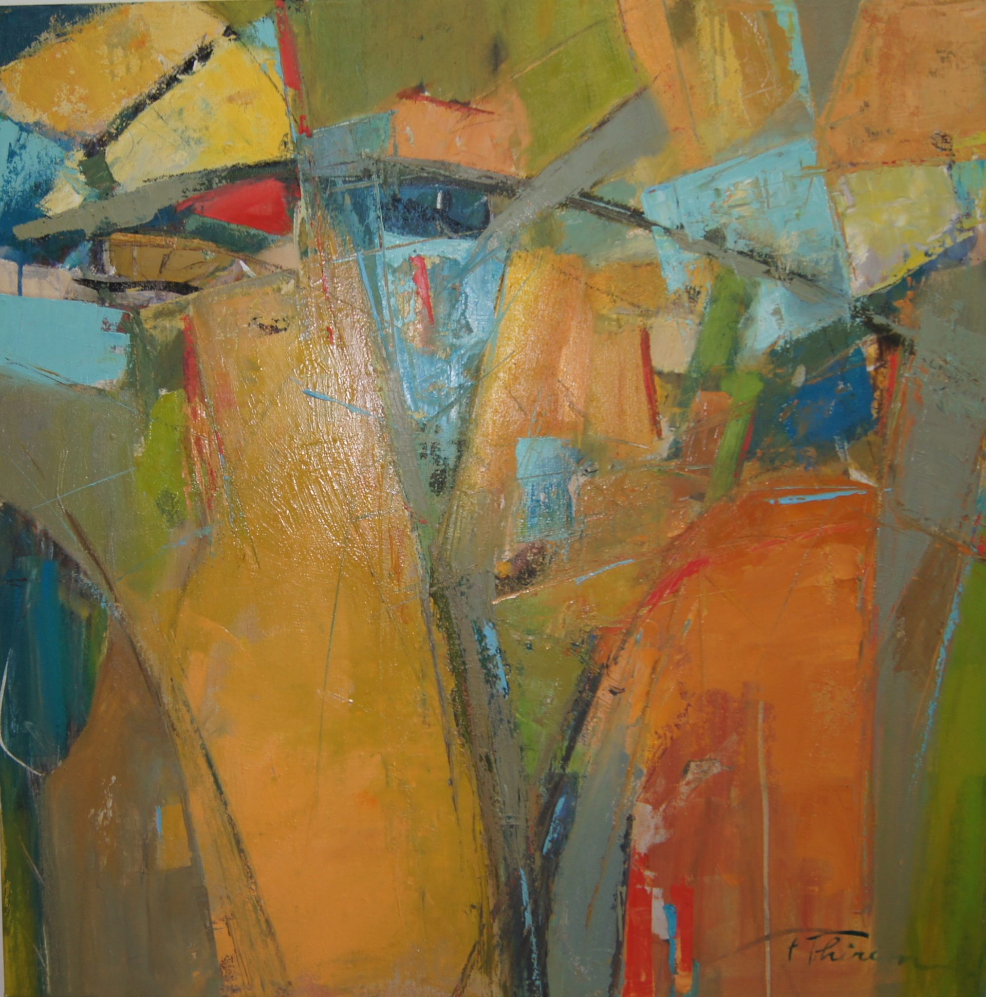 Thirion Abstract, Convergence, Oil on Canvas